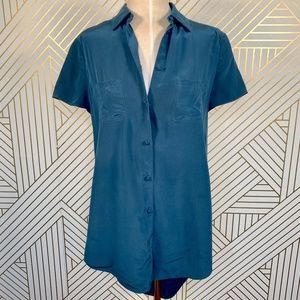 Alexander Wang Silk Blouse Open Drape Back Buttons